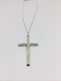Large Silver Crucifix Necklace